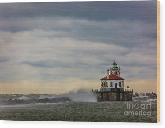 Oswego Harbor West Pierhead Light Wood Print
