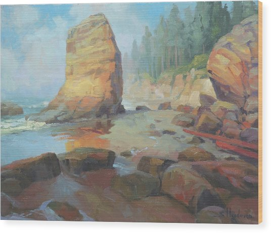 Otter Rock Beach Wood Print