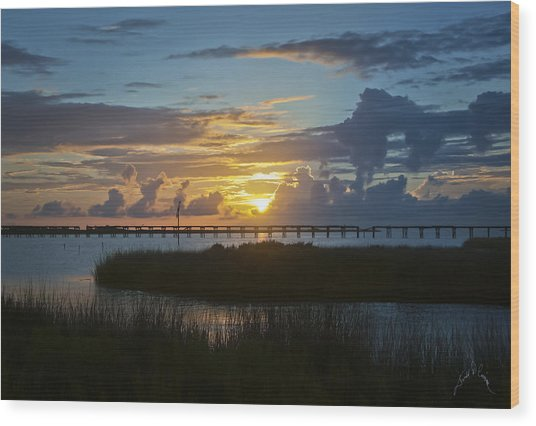Outer Banks Sunset Wood Print by Williams-Cairns Photography LLC