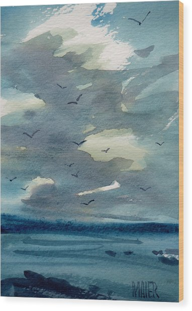 Pacific Seascape Wood Print by Donald Maier