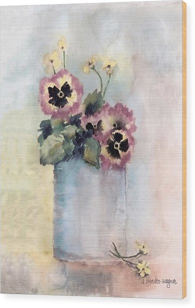 Pansies In A Can Wood Print