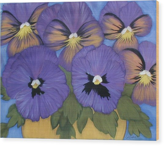 Pansy Power Wood Print by Norma Tolliver