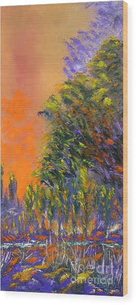 Paradise Aflame Wood Print by Ellen Young