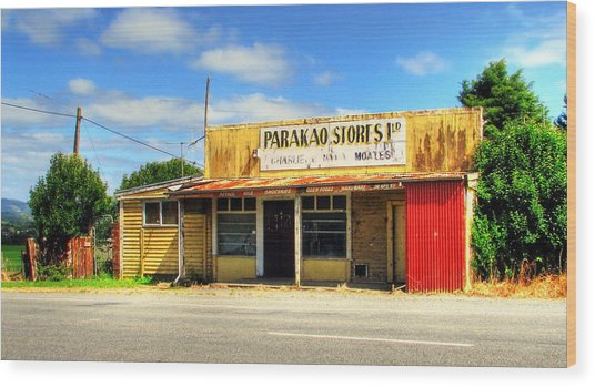Parakoa Store New Zealand Wood Print by Andrew Simmonds