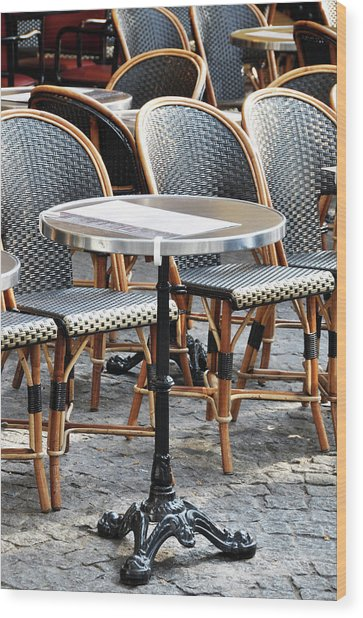Parisian Cafe Terrace Wood Print