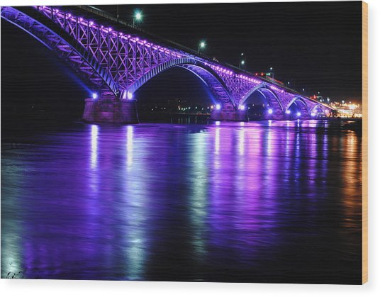 Peace Bridge Supporting Breast Cancer Awareness Wood Print