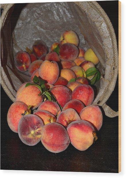 Peaches Wood Print