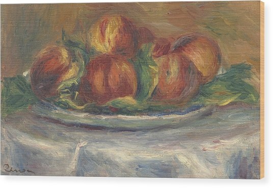 Peaches On A Plate Wood Print