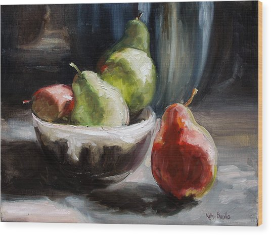 Pears In Grandma's Bowl Wood Print by Kathy Busillo