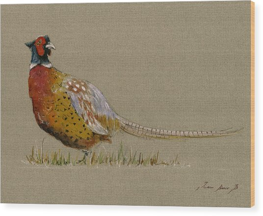 Pheasant Bird Art Wood Print