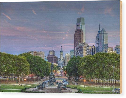 Philadelphia Cityscape Wood Print