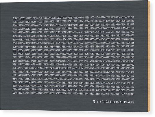 Pi To 2198 Decimal Places Wood Print
