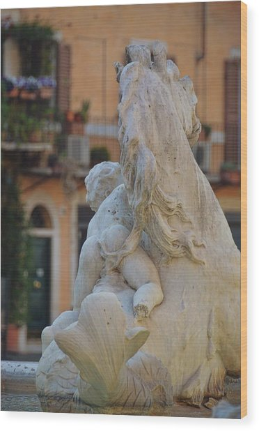 Piazza Fountain Views Wood Print by JAMART Photography