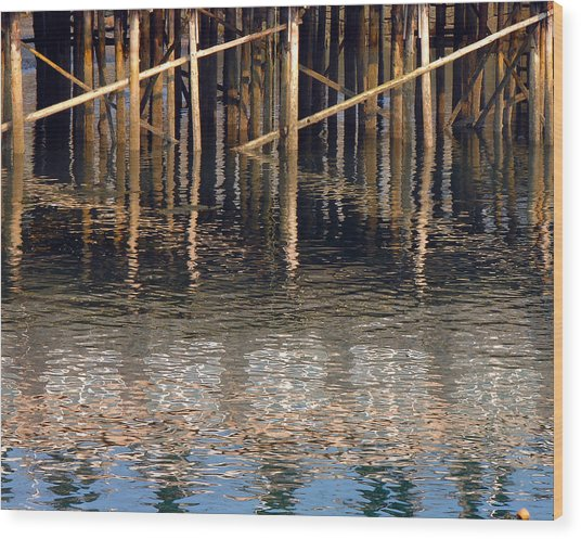 Pier And Water Wood Print