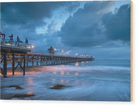 Pier In Blue Wood Print by Gary Zuercher