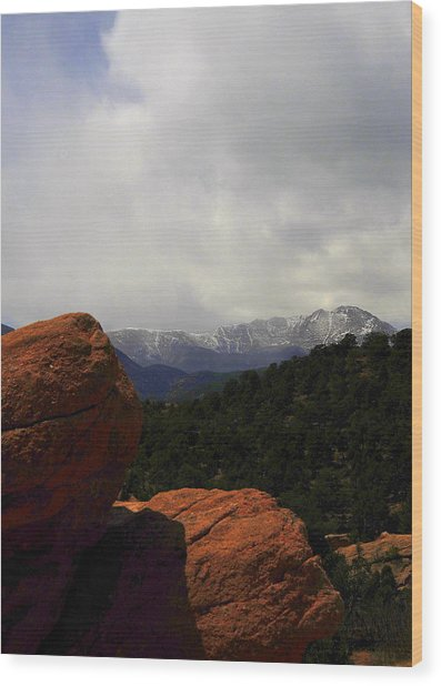 Pikes Peak Wood Print by Patrick  Short