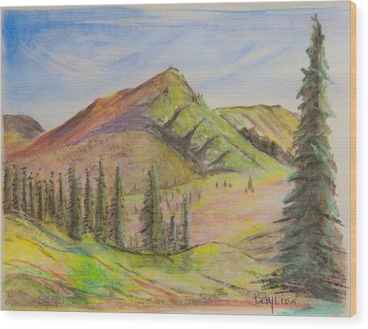 Pines On The Hills Wood Print
