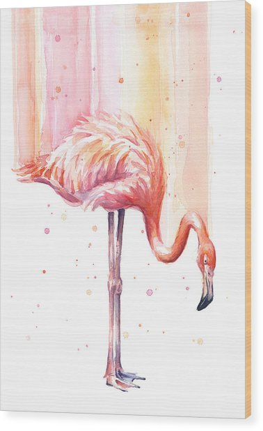 Pink Flamingo - Facing Right Wood Print