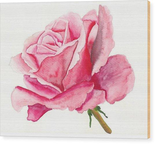 Pink Rose Wood Print by Robert Thomaston