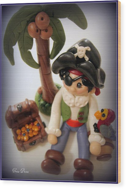 Pirate Scene Wood Print by Trina Prenzi