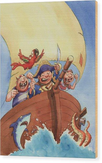 Pirate Ship Wood Print