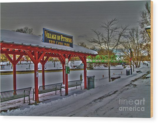 Pittsford Canal Park Wood Print