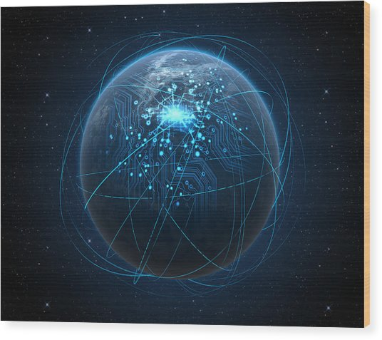 Planet With Illuminated Network And Light Trails Wood Print by Allan Swart