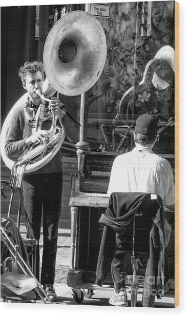Playing Jazz In New Orleans Wood Print by John Rizzuto