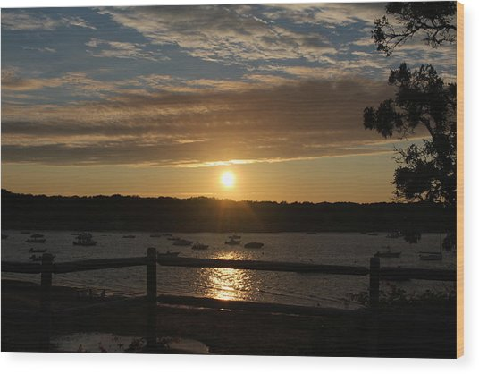 Pleasant Bay Sunset Wood Print by Amy Coomber Eberhardt