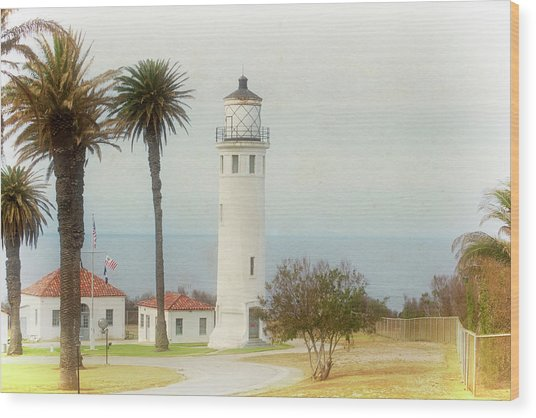 Point Vincente Lighthouse, California In Retro Style Wood Print