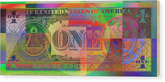 Pop-art Colorized One U. S. Dollar Bill Reverse Wood Print