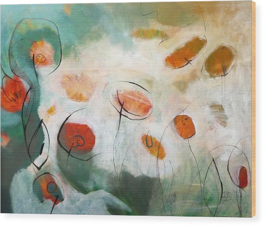 Poppies In The Clouds Wood Print by Teofana Zaric