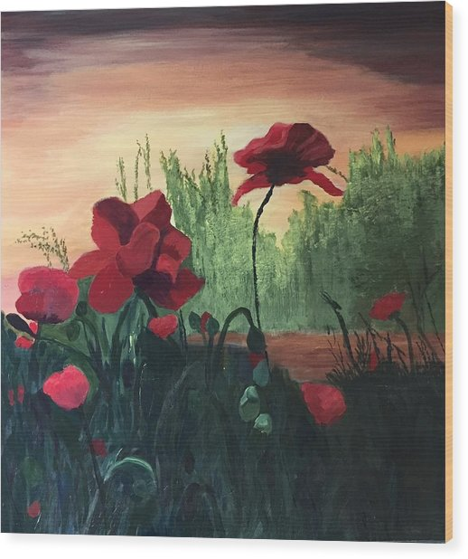 Wood Print featuring the painting Poppies by Jane Croteau