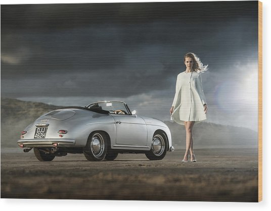 Porsche 356 Speedster With Model Wood Print