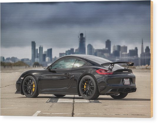 Wood Print featuring the photograph #porsche #cayman #gt4 by ItzKirb Photography