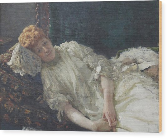 Portrait Of The Pianist Louisa Mercy D'argenteau Wood Print by Ilya Repin