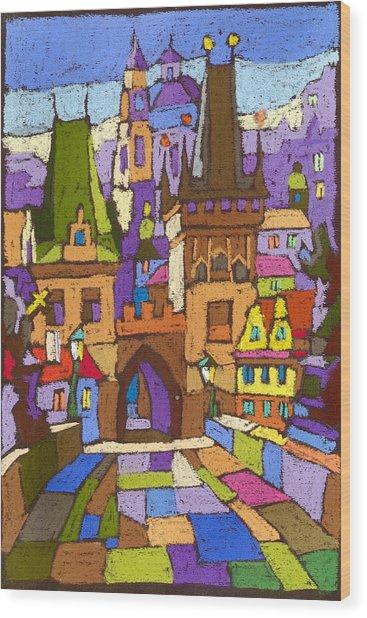 Prague Charles Bridge 01 Wood Print