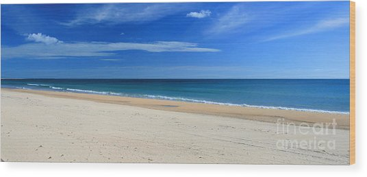 Praia Do Cabeco - Panoramic Wood Print by Carl Whitfield