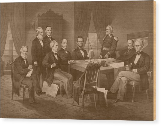 President Lincoln - His Cabinet And General Scott Wood Print