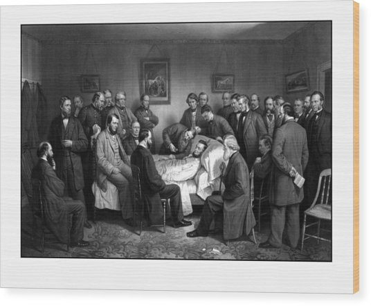 President Lincoln's Deathbed Wood Print