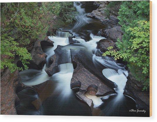 Presque Isle River Falls Wood Print