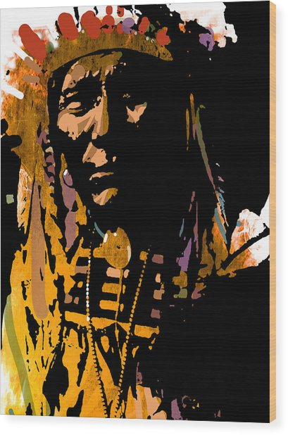 Proud Chief Wood Print