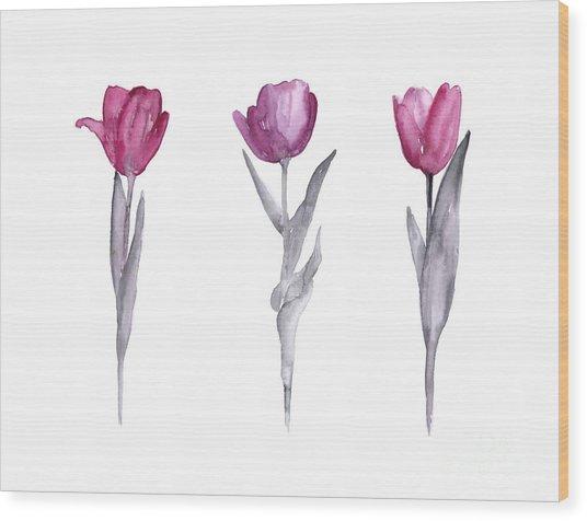 Purple Tulips Watercolor Painting Wood Print
