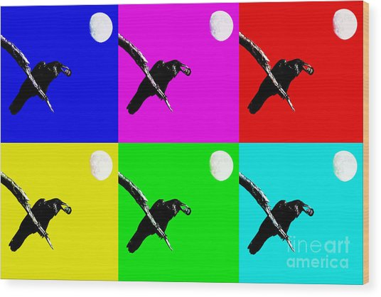 Quoth The Raven Nevermore Six Wood Print by Wingsdomain Art and Photography