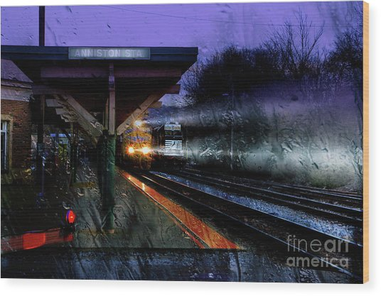 Rain And Rail Wood Print