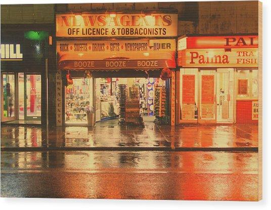 Rain Town Wood Print