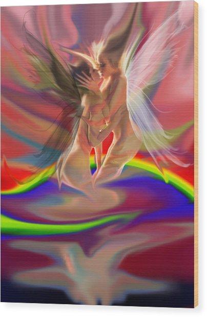 Rainbow Fairies Wood Print