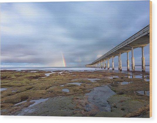 Rainbow On The Horizon Wood Print