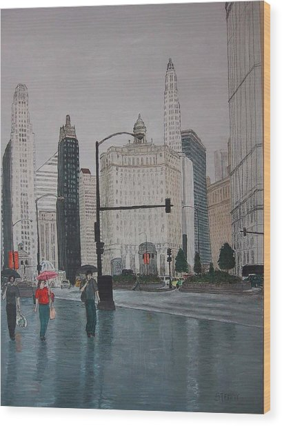 Rainy Day Chicago Wood Print by Jacob Stempky