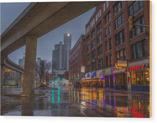 Rainy Night In Detroit  Wood Print